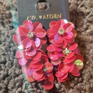 Pink Ava & Aiden Sequined Earrings